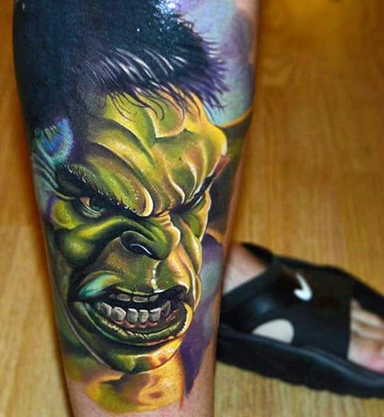 Extremely Angry Hulk Tattoo Male Forearms