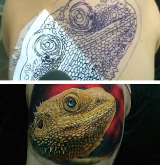 Extremely Detailed Olive Colored Lizard Tattoo On Males Arms