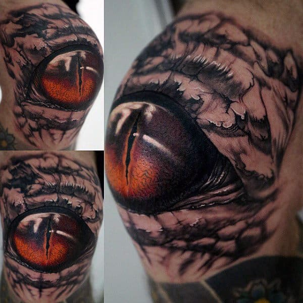 Extremely Real Reptile Eye Tattoo Mens Shoulder