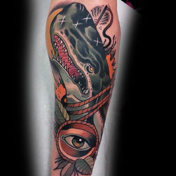 Eye And Sick Whale Tattoo Male Sleeves