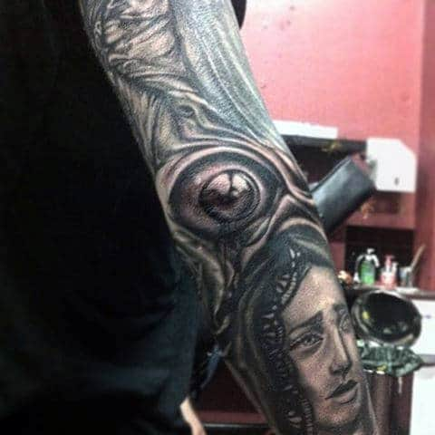 Eye Ball Sleeve Elbow Mens Tattoos