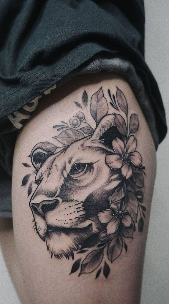 Eye Catching Colored Lion Tattoo
