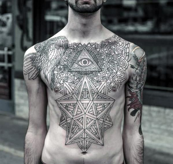 Eye Chest Tattoo For Men