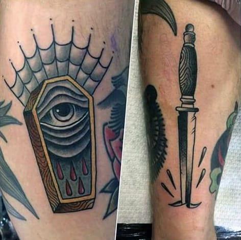 Eye Coffin Spider Web Mens Tattoos On Arm