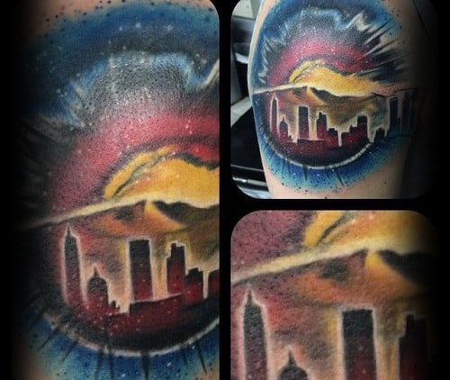 Eye Colorado City Skyline Guys Arm Tattoos