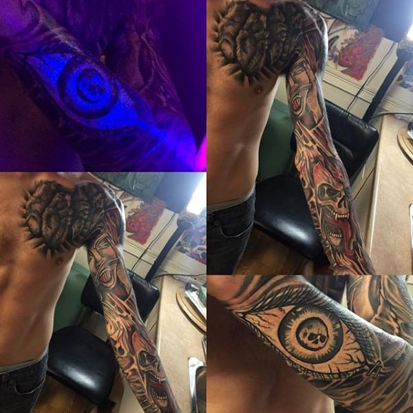 Eye Glowing Under Black Light Mens Tattoo Inspiration