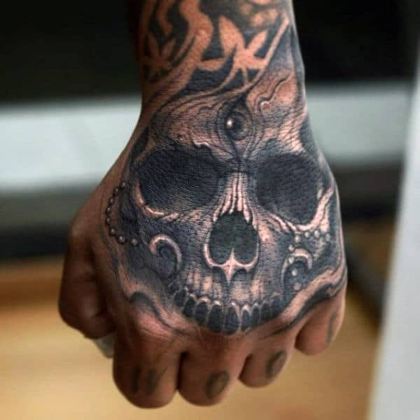 Eye In Skull Mens Hand Tattoos