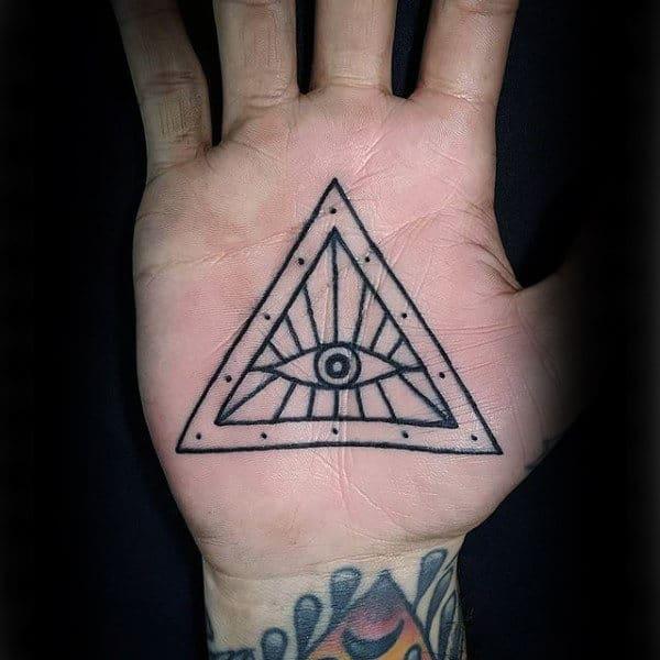 Eye In Triangle Tattoo Male Palms