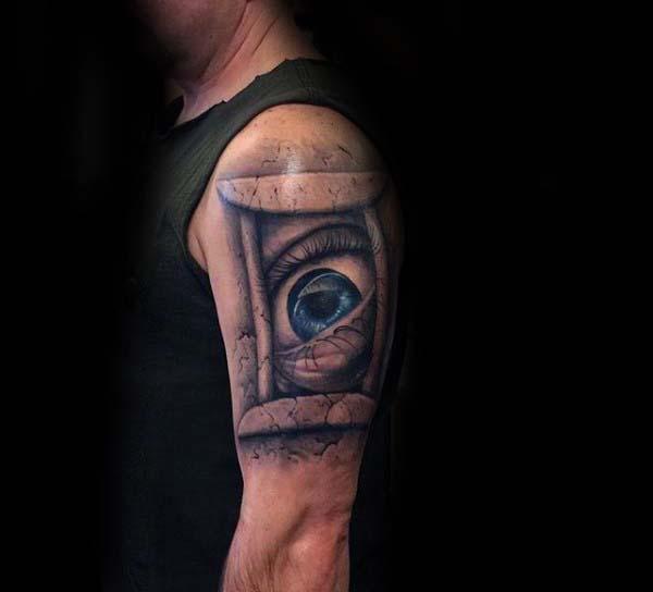 Eye Inside Gemini Mens 3d Arm Tattoo Ideas