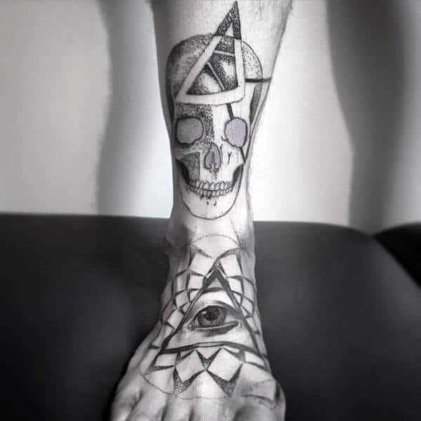 Eye Inside Triangle And Skull Tattoo Mens Foot