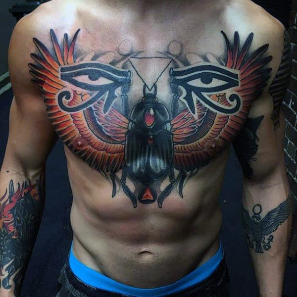 Eye Of Horus Egyptian Themed Mens Upper Chest Tattoo
