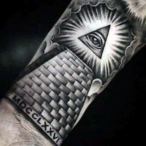 Eye Of Providence Pyramid Mens Forearm Tattoo