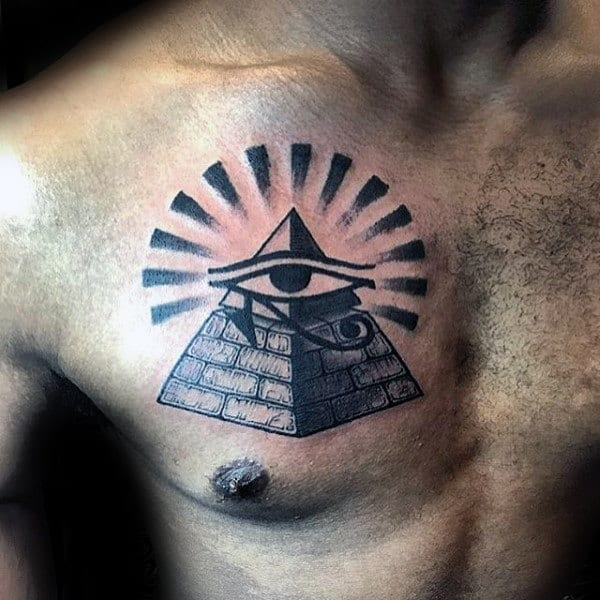 Eye Of Ra Male Pyramid Sun Rays Chest Tattoos