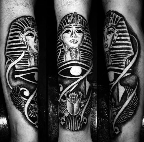 6bd5dc812 Eye Of Ra With Bettle And King Tut Mens Egyptian Themed Shin Tattoos