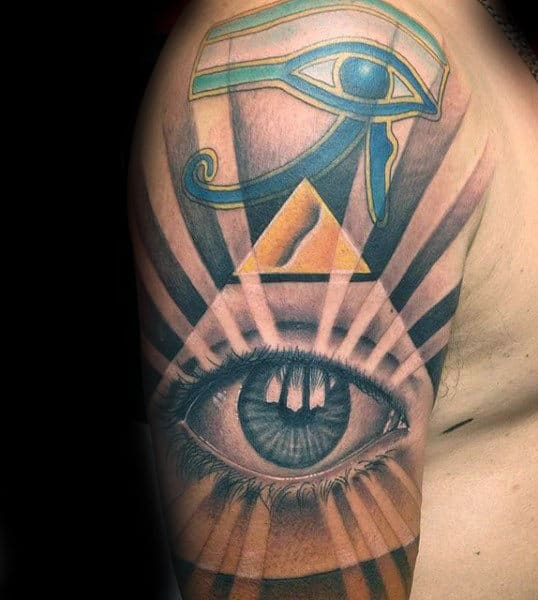 Eye Of Ra With Gold Pyramid Mens Half Sleeve Tattoos