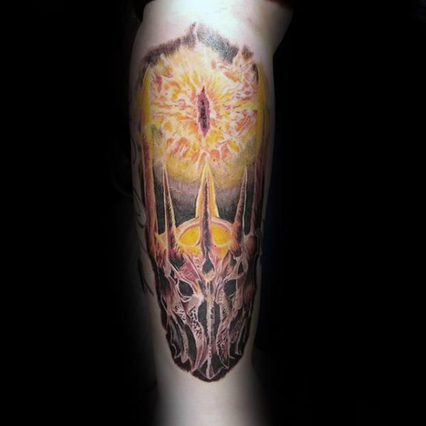 Eye Of Sauron Guys Tattoos On Leg