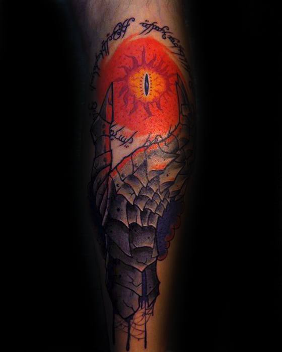 Eye Of Sauron Male Tattoos On Back Of Leg
