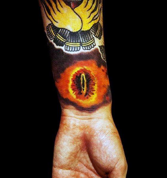 Eye Of Sauron Mens Wrist Tattoo Ideas