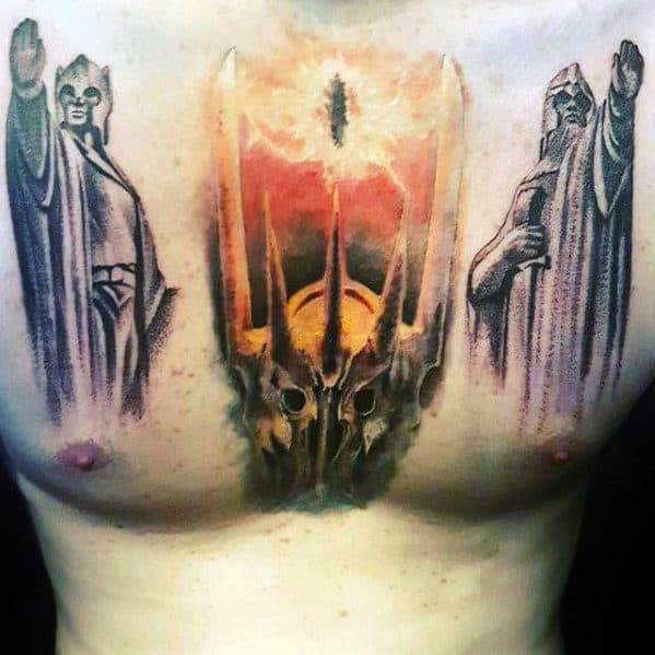 Eye Of Sauron Upper Chest Tattoo Designs For Guys