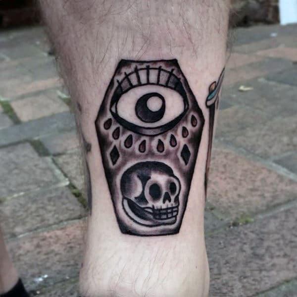 Eye Skull Mens Small Coffin Leg Tattoo