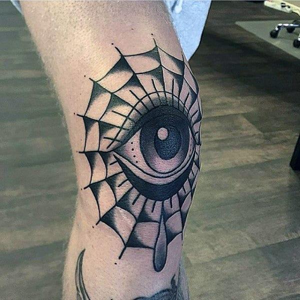 Eye Spider Web Knee Tattoos For Men