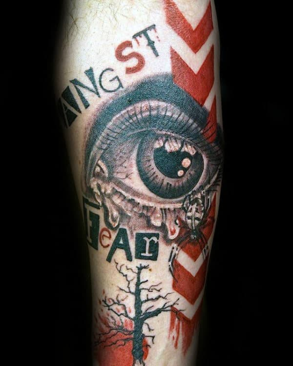 Eye With Arroows Trash Polka Forearm Male Tattoos