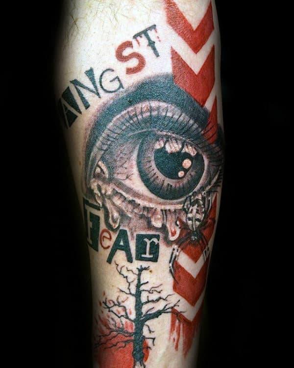 Eye With Arroows Trash Polka Forearm Male Tattoos