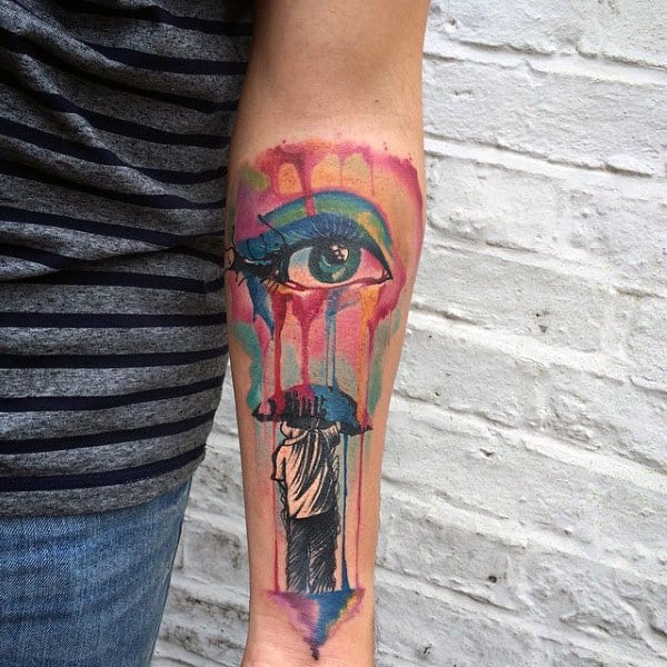 Eye With Colored Tears Fallling On Boy With Umbrella Tattoo Male Forearms