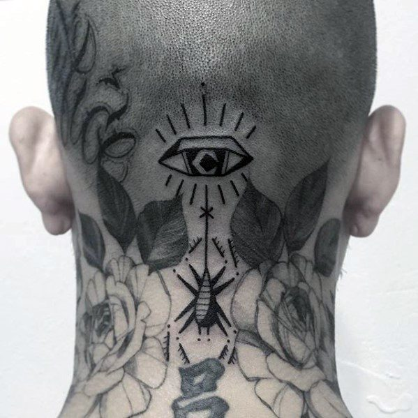 Eye With Dangling Spider Mens Small Back Of Neck Tattoo