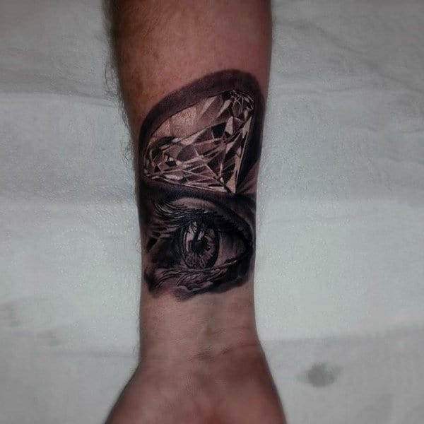 Eye With Diamond Mens Wrist Tattoo