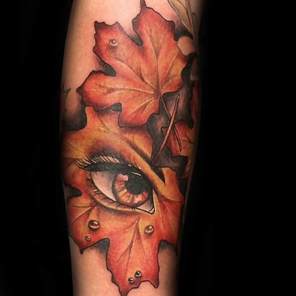 Eye With Leaf Male Fall Tattoos