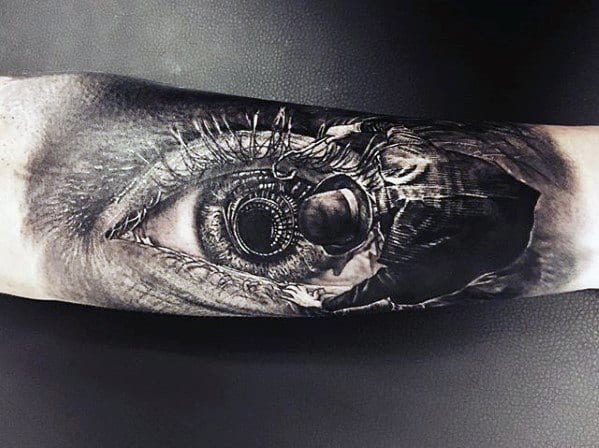 Eye With Man In Hat 3d Realistic Guys Unique Forearm Tattoo