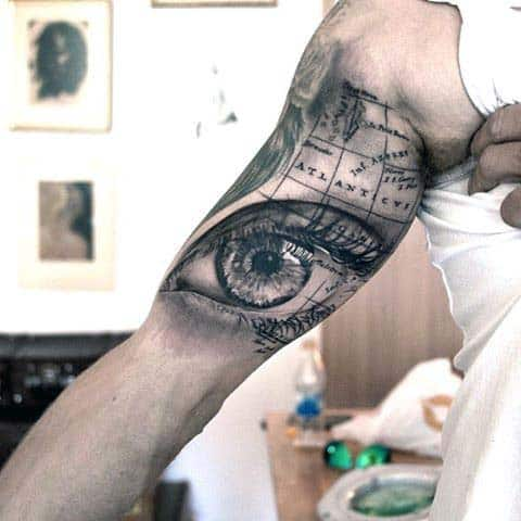 Eye With Map Extreme Guys Quarter Sleeve Tattoo Ideas