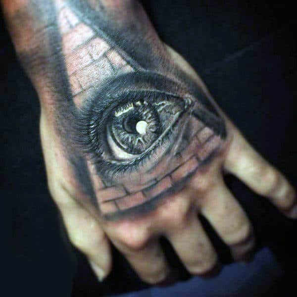 Eye With Pyramid Mens 3d Hand Tattos