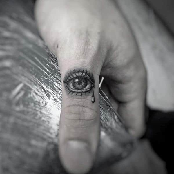 Eye With Tear Drop Thumb Tattoo On Male