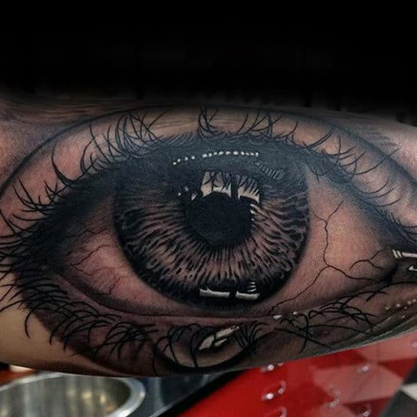Eye With Tears Realistic Mens Arm Tattoo