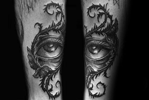 Eye With Thorns Ornate Mens Shin Tattoo Ideas