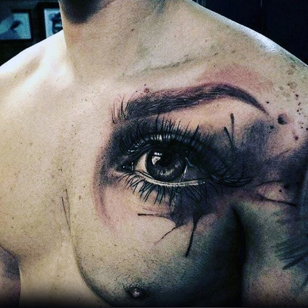 Eye With Watercolor Black Ink Design Artistic Chest Tattoos For Men