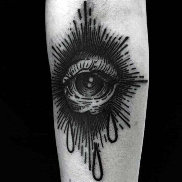 Eye Woodcutmens Detailed Arm Tattoo