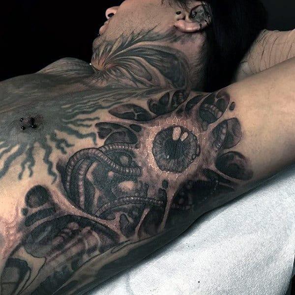 Eyeball And Slimy Worm Tattoo Male Armpit