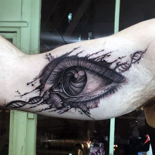 Eyeball Dna Watercolor Male Tattoos On Mens Bicep