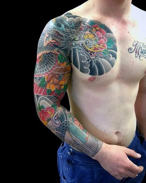 Fabled Dragon Tattoo Male Sleeves