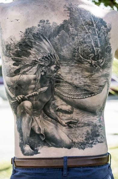 Fabuloous Native American Man On Lake Shore Tattoo Male Back
