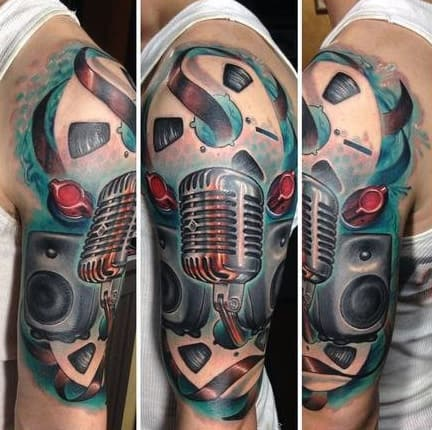 Fabulous Blue And Red Musical Tattoo For Guys