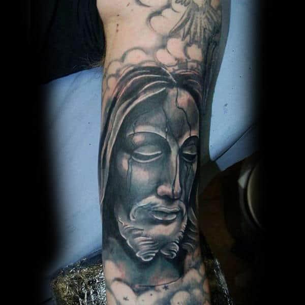 Fabulous Grey God Tattoo Religious Male Forearms