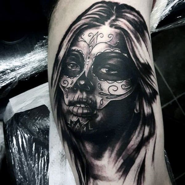 Fabulous Grey Shaded Day Of The Dead Woman Tattoo Mens Forearms