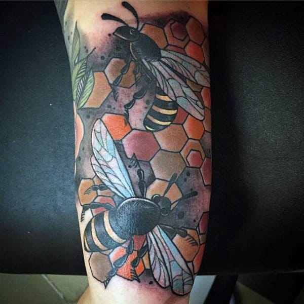 Fabulous Honeycomb And Bees Tattoo Males Forearms