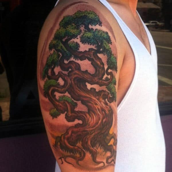 Fabulous Oak Tree Tattoo On Arms Men
