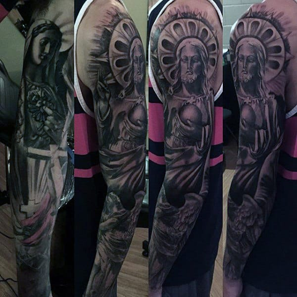 Fabulous Religious Tattoo Male Sleeves