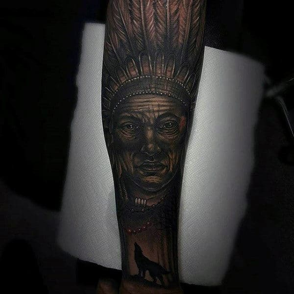 Fabulous Tattoo Of Native American And Black Wolf On Mens Forearms
